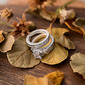 Sterling zilver Zirconia Wijnoogst Drie Stenen Princess Cut Belofte ringen Bruids sets -