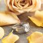Plata esterlina Zirconia cúbica aureola Corte De Pera Anillos de compromiso Anillos de promesa - Regalos De San Valentin